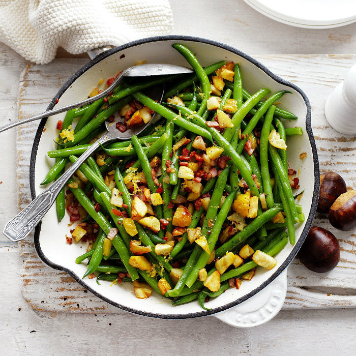 Chestnut & bacon green beans