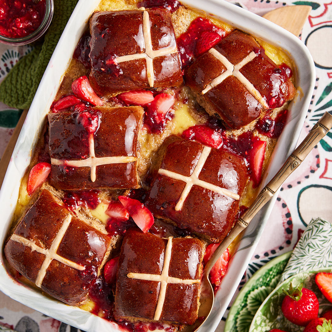 Photo of Hot Cross Bun Pudding with Custard and Strawberries
