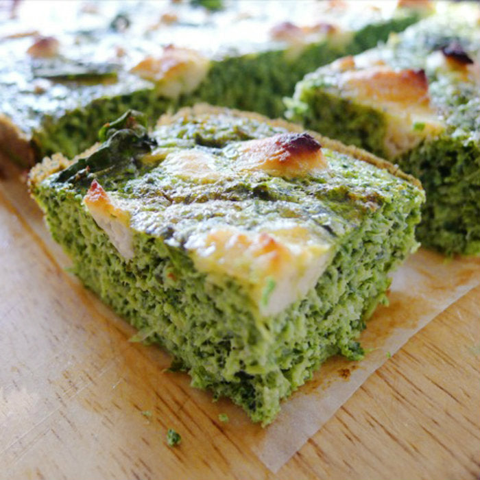 Kale Broccoli Mint Goats Cheese Frittata