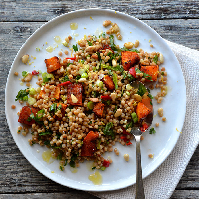 giant couscous and spicy pumpkin salad recipe from