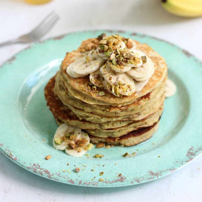 Banana Pancakes with Honey Lemon Syrup