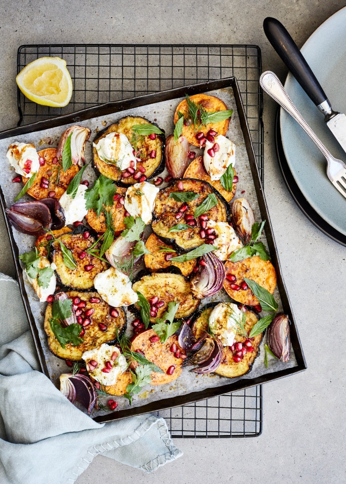 One Tray Roast Eggplant & Sweet Potato recipe