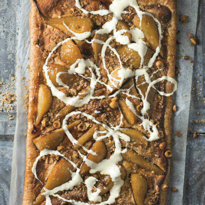 Pear and Toffee Tart with Nut Crumble