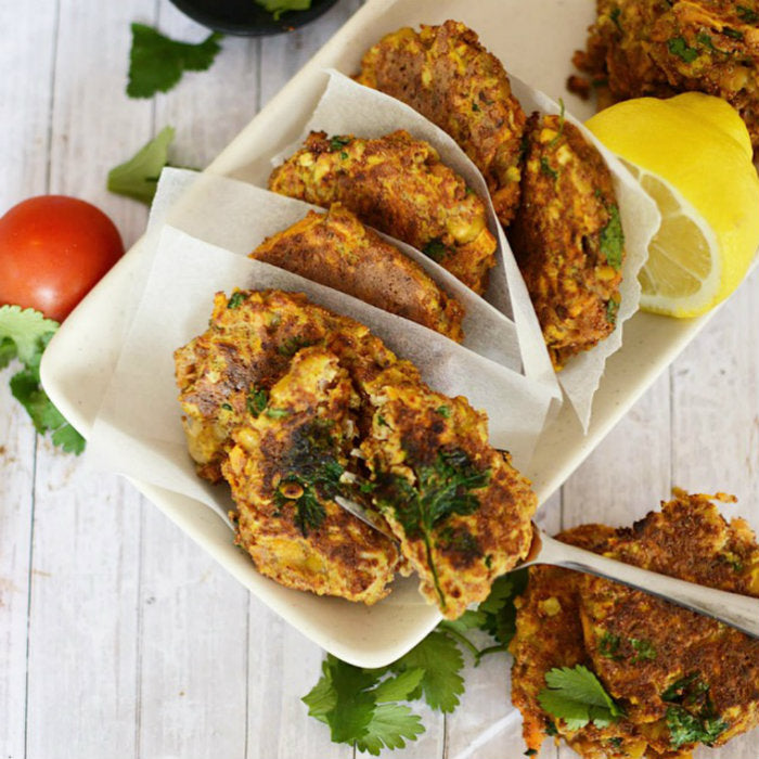 Spiced Carrot & Chickpea Fritters