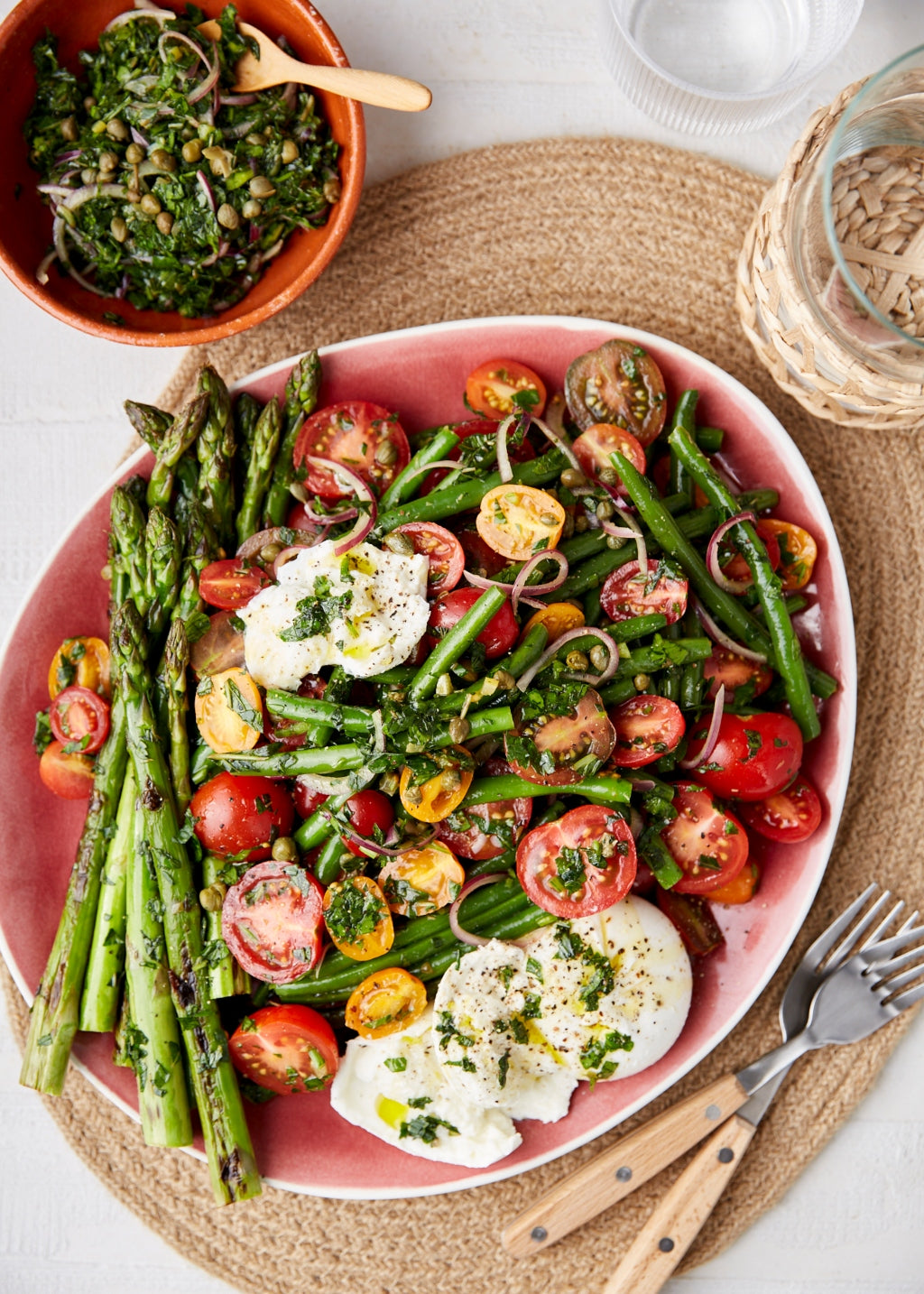 Charred asparagus, green beans and tomato salad with herb salsa | Harris Farm Markets