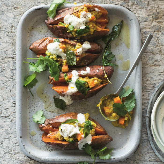 Sweet Potato Jackets with Dhal - Recipe by Valli Little