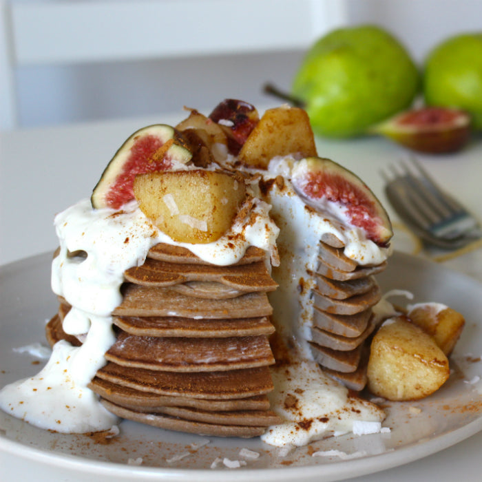 Pear and Cinnamon Pancakes with Coconut Yoghurt