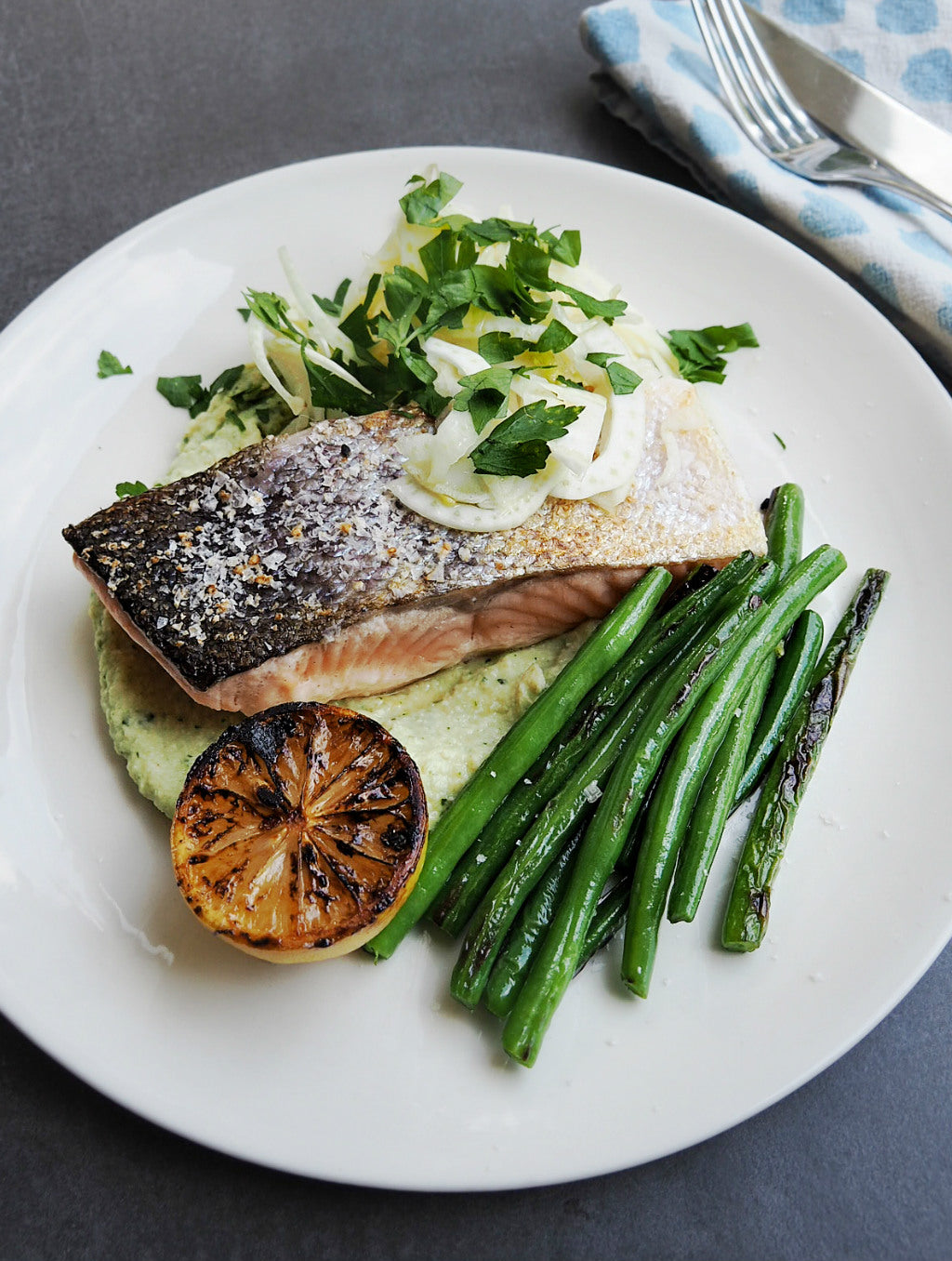 White Bean & Artichoke Puree, with Salmon & Green Beans recipe