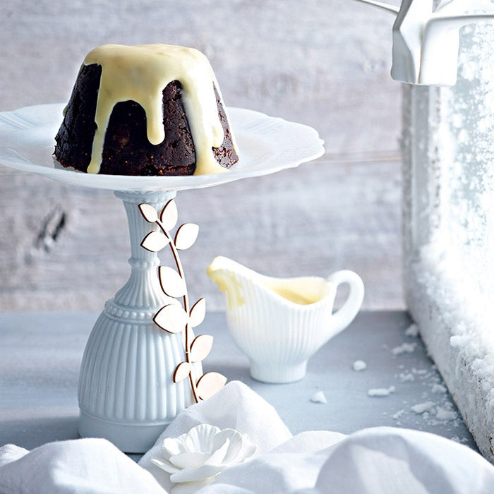 Chocolate Christmas Pudding with White Chocolate Sauce