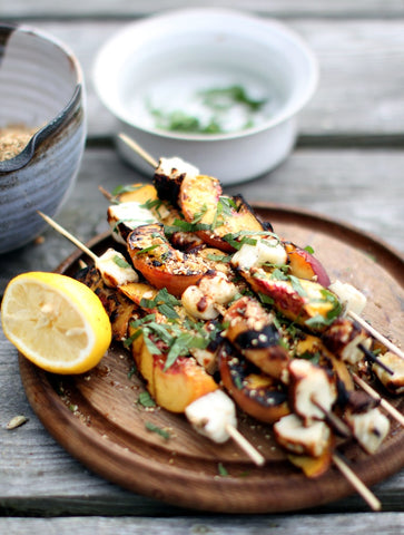 My New Roots shows us Haloumi & Peach Skewers