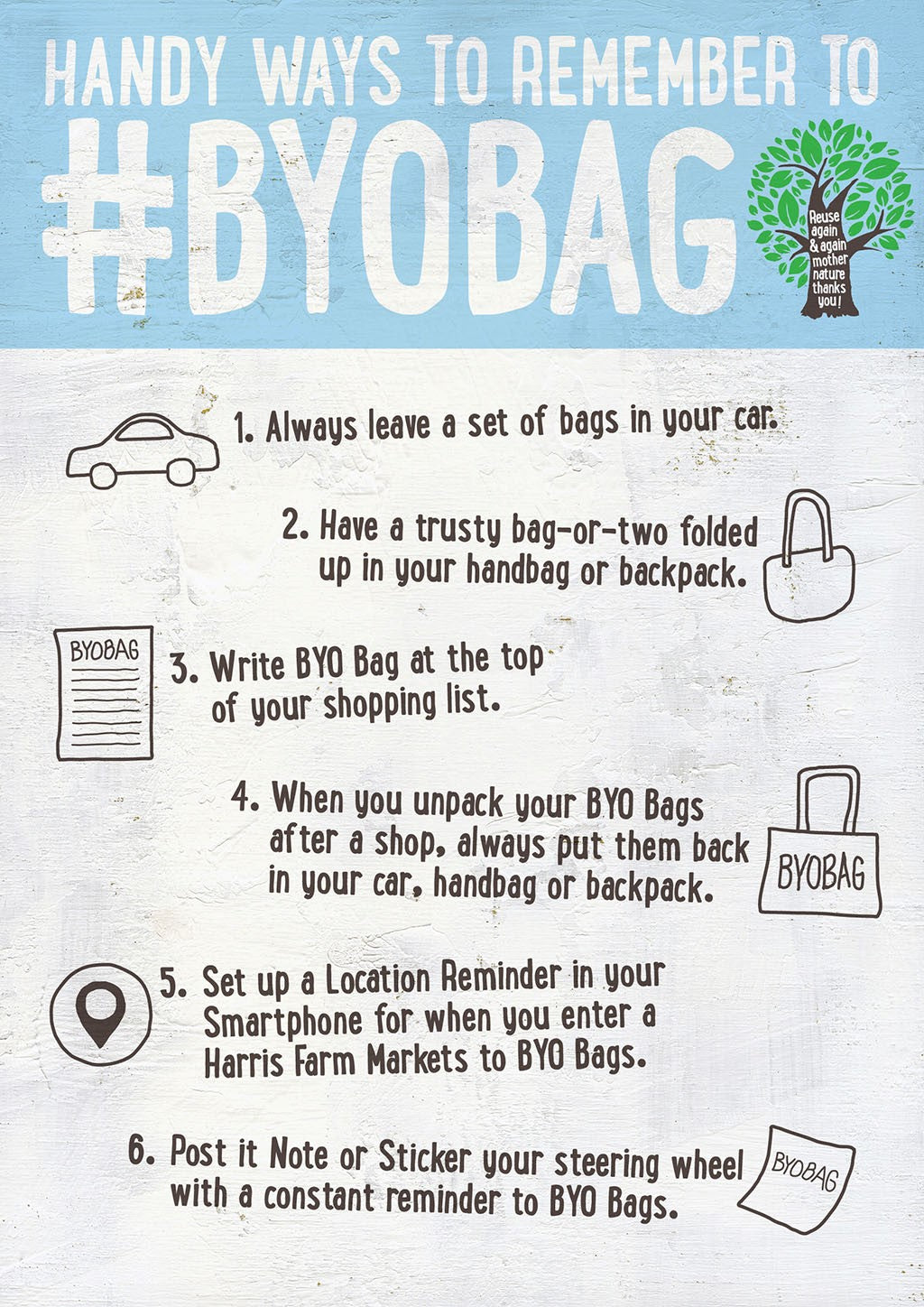 handy ways to remember to byo bags