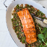 Teff Date Tabouli with Roasted Citrus Salmon & Labne