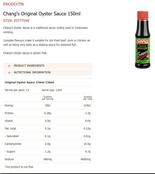 Changs - Original Oyster Sauce (150mL)