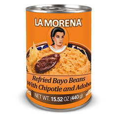 La Morena - Refried Bayo Beans - with Chipotle and Adobo (440g)