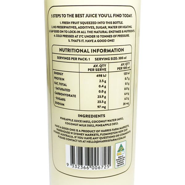 Harris Farm - Juice Cold Pressed - Pine Pina Colada (300mL)