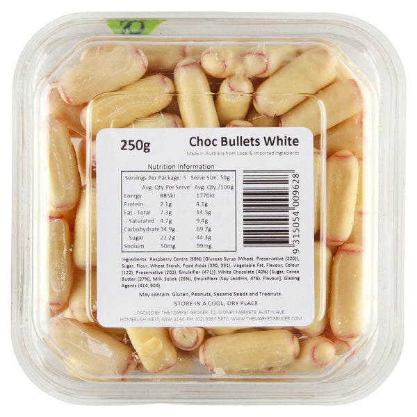Market Grocer Choc Bullets White 250g , Grocery-Confection - HFM, Harris Farm Markets  - 2