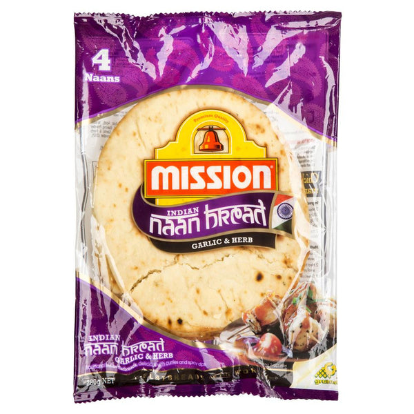 Mission Garlic Herb Indian Naan Bread 280g , Z-Bakery - HFM, Harris Farm Markets  - 1