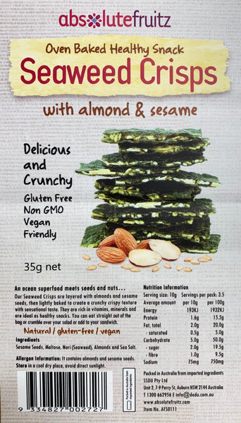 Absolutefruitz - Seaweed Crisps - Almond and Sesame (35g)