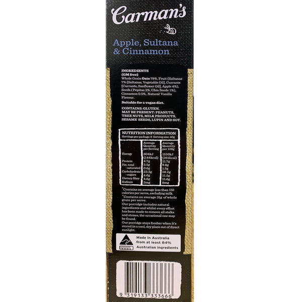 Carmans - Gourmet Porridge Sachets - Apple, Sultana & Cinnamon | Harris Farm Online