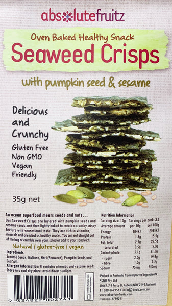Absolute Good - Seaweed Crisps - Pumpkin Seed & Sesame (35g)
