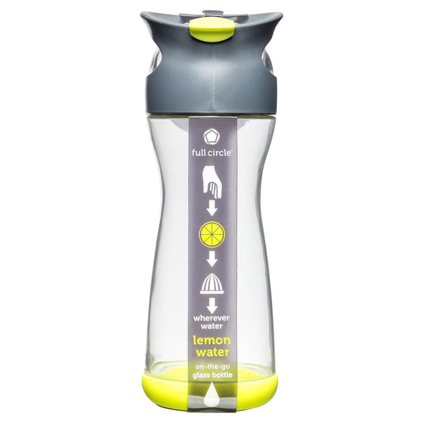 Full Circle Lemon Water Glass Bottle Green 580ml , Grocery-Pantry - HFM, Harris Farm Markets  - 1