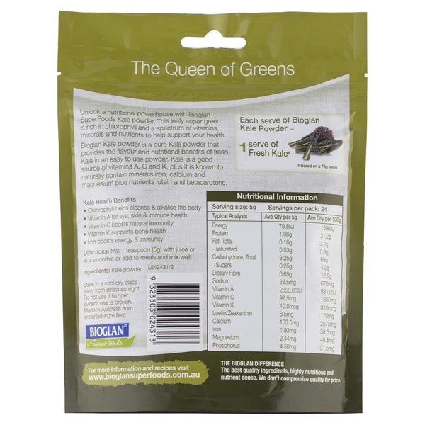 Bio Glan Super Foods Kale Powder 120g , Grocery-Cooking - HFM, Harris Farm Markets  - 2