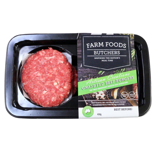 Beef - Burgers Grass Fed (4 Pieces, 450g) Farm Foods