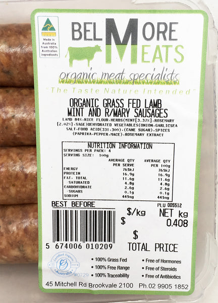 Sausages -  Lamb Mint & Rosemary - Organic Grass fed (300-500g) Belmore