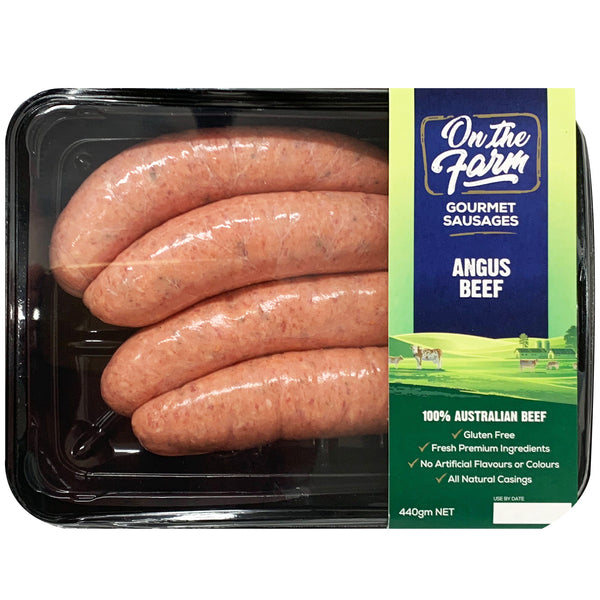 Sausages - Angus Beef (4 sausages, 440g) On The Farm