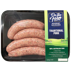 Sausages - Traditional Pork (4 sausages, 440g) On The Farm