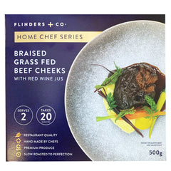 Flinders And Co Braised Grass Fed Beef Cheeks with Red Wine Jus | Harris Farm Online
