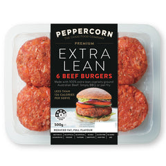 Beef - Burgers - Extra Lean (6 burgers, 500g) Peppercorn
