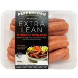 Sausages - Beef Chipolatas - Extra Lean (16 sausages, 450g) Peppercorn