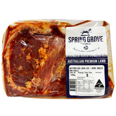 Lamb - Leg Butterflied - Herbs, Garlic and Chilli (800g-1.2kg) Spring Grove