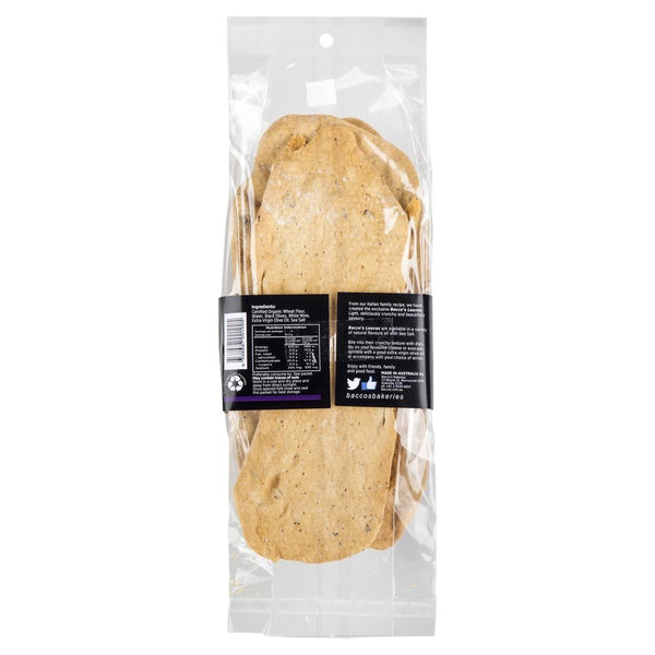 Bacco's Leaves - Flatbread Organic Wheat - Black Olives | Harris Farm Online