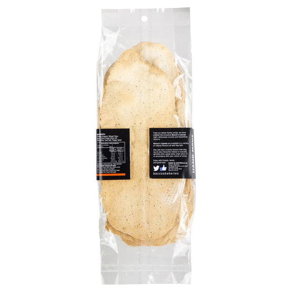 Bacco's Leaves Organic Wheat Flatbread with Poppy Seed 130g , Grocery-Biscuits - HFM, Harris Farm Markets  - 2