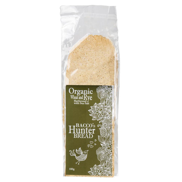 Bacco's Hunter Bread Organic Wheat and Rye Flatbread with Sea Salt 100g , Grocery-Biscuits - HFM, Harris Farm Markets  - 1