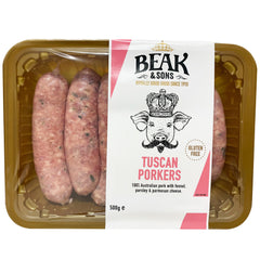 Sausages - Tuscan Porkers (6 sausages, 500g) Beak & Sons