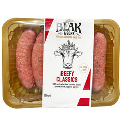 Beak and Sons Classic Beefy Sausages 500g