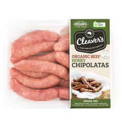 Cleavers Organic and Paleo Beef Honey Chipolatas 450g