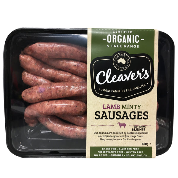 Lamb - Minty Sausages - Organic (480g) Cleavers