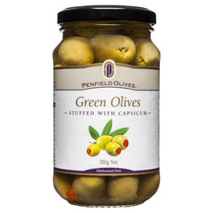 Penfield Olives Green Stuffed W' Capsicum 380g , Grocery-Antipasti - HFM, Harris Farm Markets  - 1