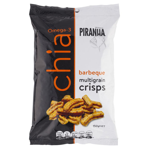 Piranha Chia Barbeque Multigrain Crisps 150g , Grocery-Confection - HFM, Harris Farm Markets  - 1