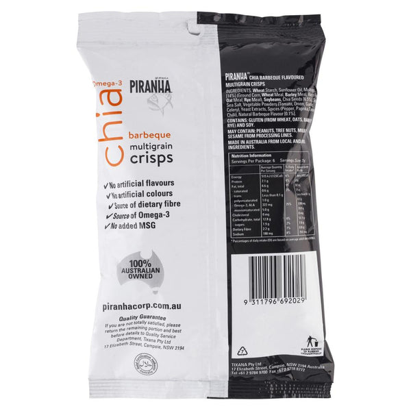 Piranha Chia Barbeque Multigrain Crisps 150g , Grocery-Confection - HFM, Harris Farm Markets  - 2