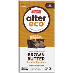 Alter Eco Organic 70% Chocolate Deep Dark Salted Brown Butter  | Harris Farm Online