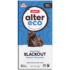 Alter Eco Organic 85% Dark Chocolate Blackout 80g