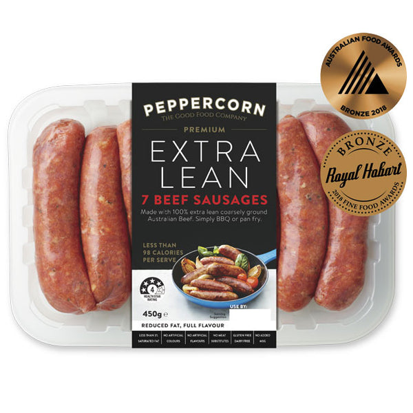 Sausages - Beef - Extra Lean (7 sausages, 450g) Peppercorn