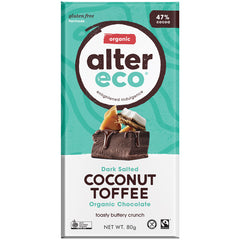 Alter Eco Organic 47% Dark Chocolate Salted Coconut Toffee | Harris Farm Online