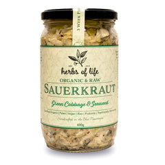 Herbs of Life - Sauerkraut - Green Cabbage and Seaweed - Organic and Raw (600g)