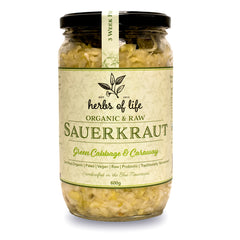Herbs of Life - Sauerkraut - Green Cabbage and Caraway Sauerkraut - Organic and Raw (600g)